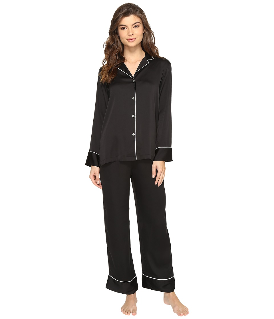 Natori - Feathers Satin Pajama (Black) Women's Pajama Sets