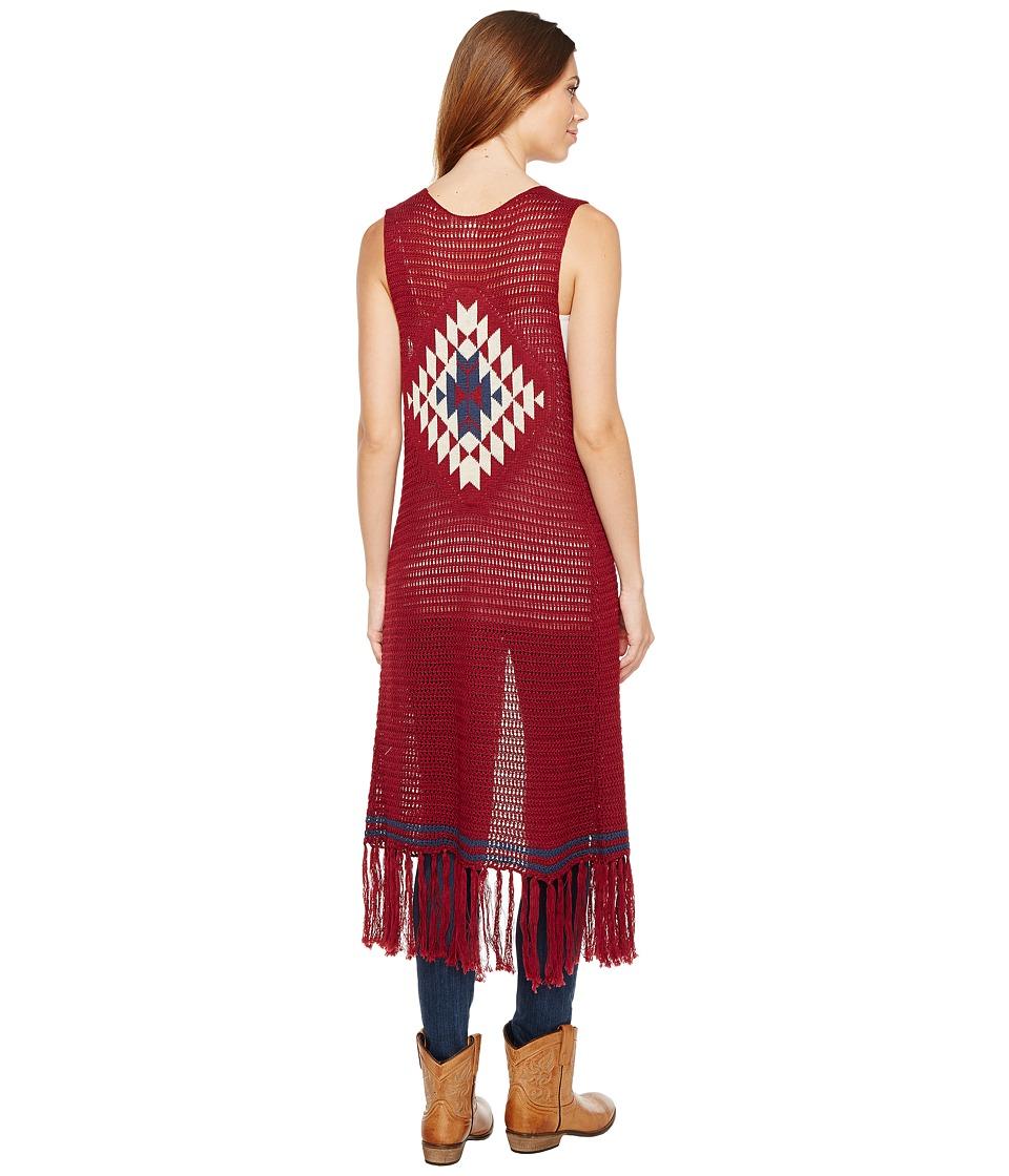 Stetson - 1167 Dark Red Calf Length Fringe Sweater (Red) Women's Sweater