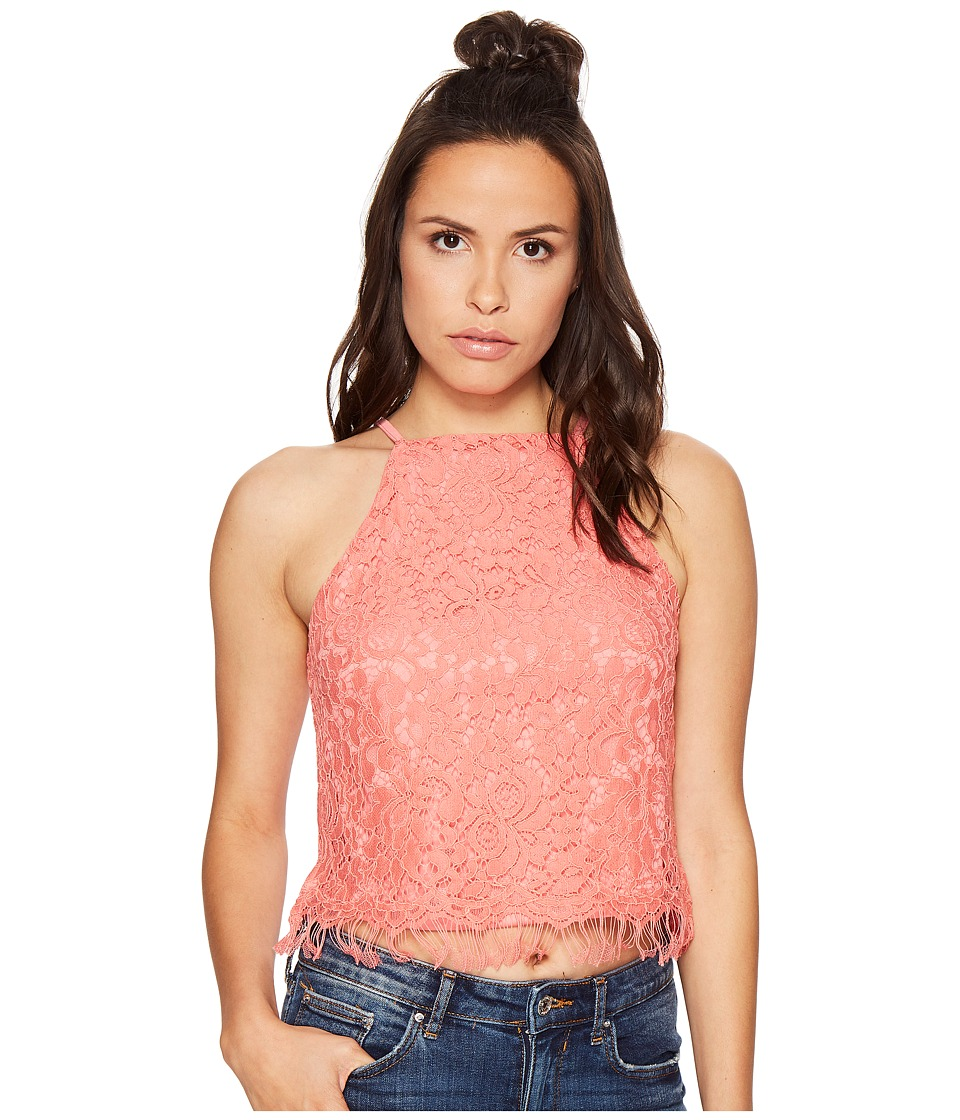 Bishop + Young - Romanic Lace Tank Top (Coral) Women's Sleeveless
