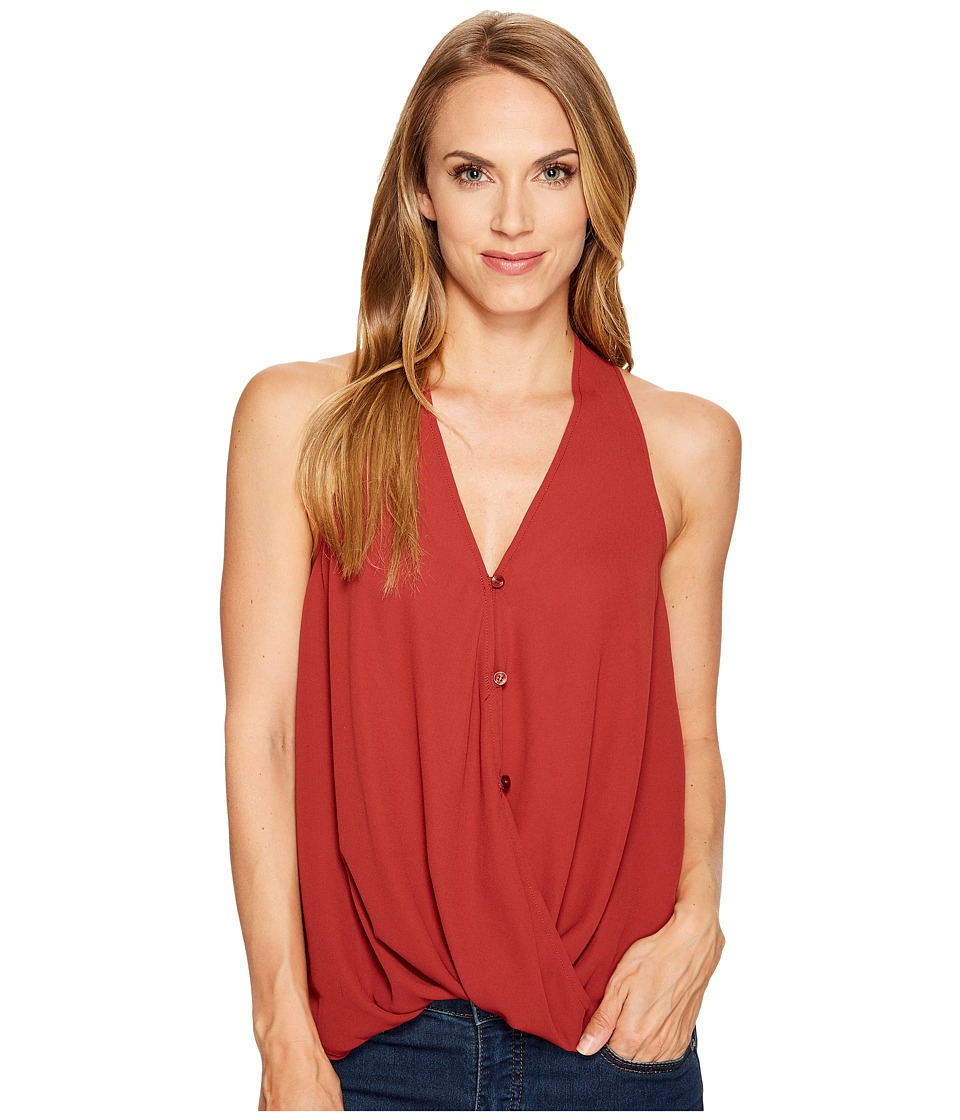 Stetson - 1073 Crepe Sleeveless Twist Front Top (Red) Women's Sleeveless