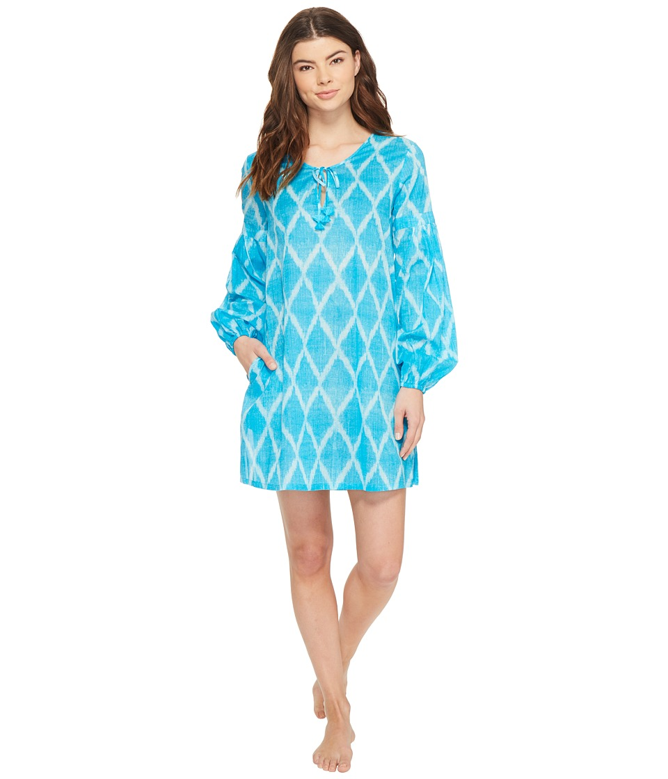 Natori Ikat Diamond Peasant Shirt Blue Breeze Womens Pajama