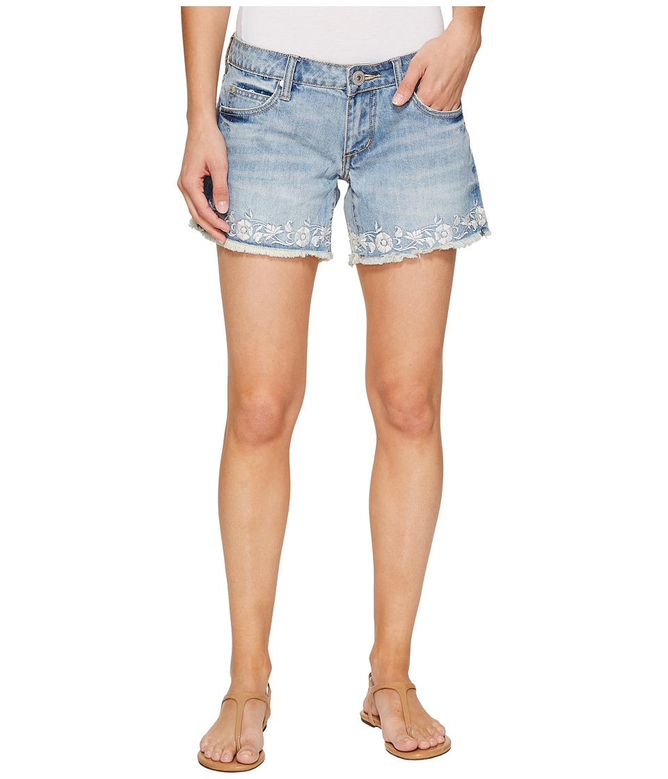 Stetson - Denim Shorts with Floral Embroidery On Hem (Blue) Women's Shorts