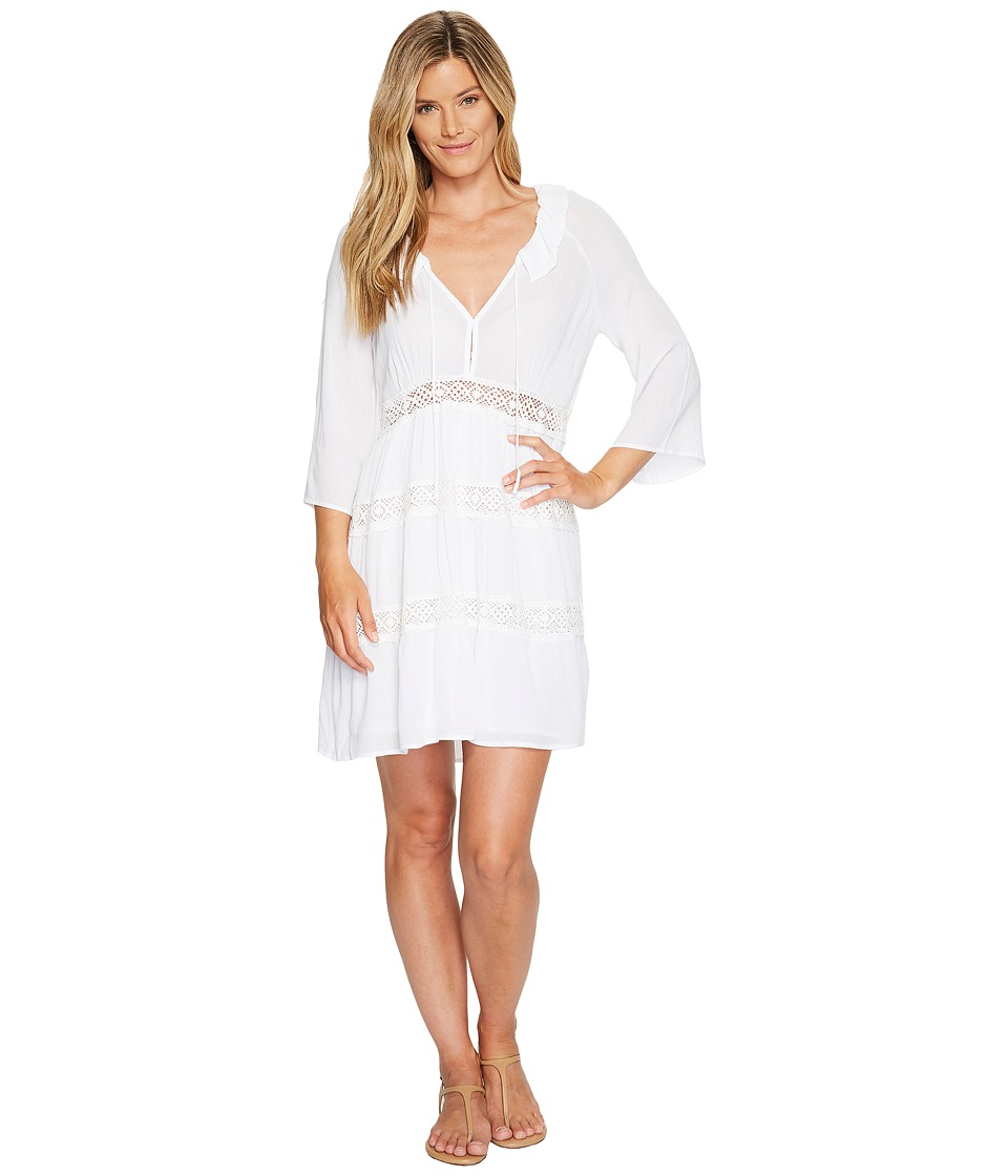 Stetson - 1056 Crepe 3/4 Sleeve Dress (White) Women's Dress