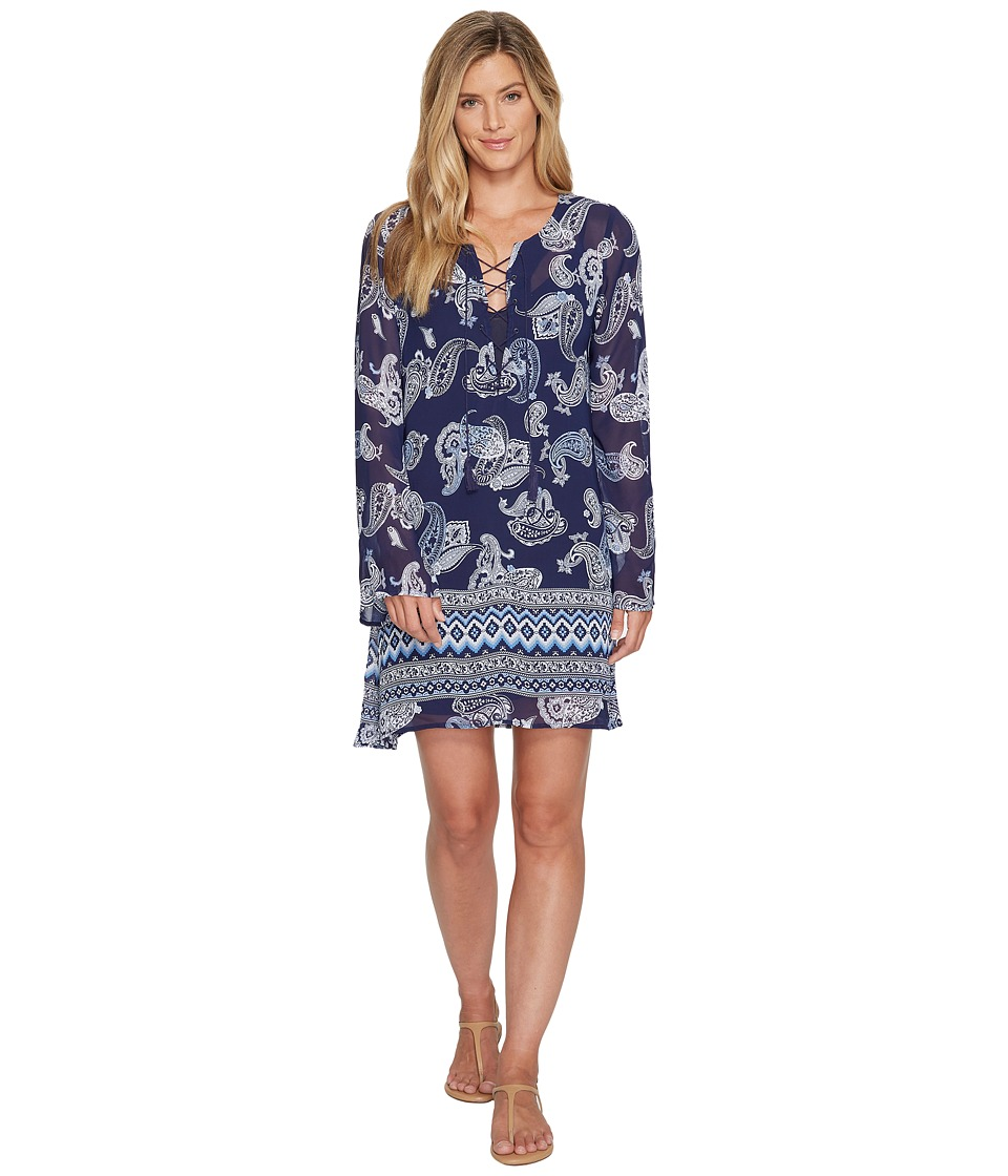 Stetson - 1115 Paisley Aztec Print Peasant Dress (Blue) Women's Dress