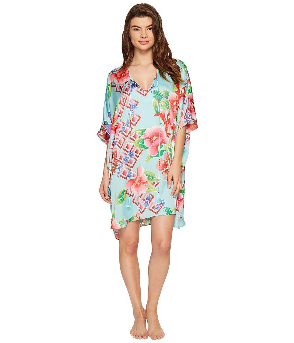 Natori - Star Blosson Caftan Dress (Ocean Wave) Women's Pajama