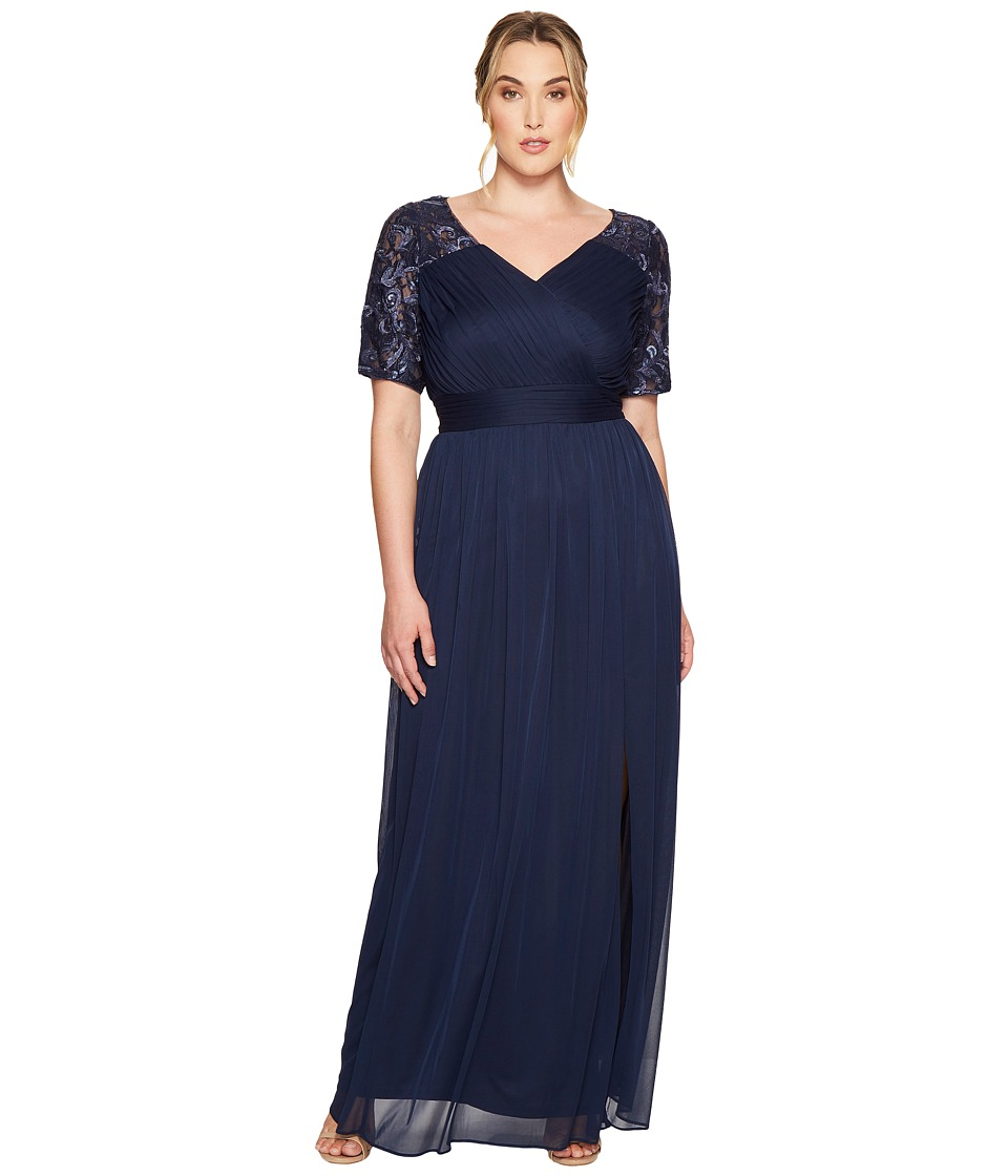 Adrianna Papell - Plus Size V-Neck Sequin and Stretch Tulle Gown w/ Elbow Sleeve (Midnight) Women's Dress