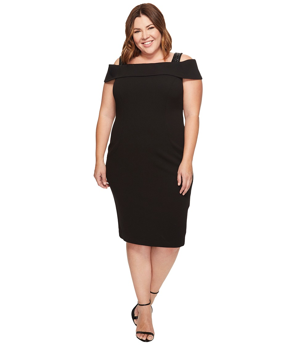 Adrianna Papell Plus Size Crepe Off-the-Shoulder Cocktail Dress (Black) Women
