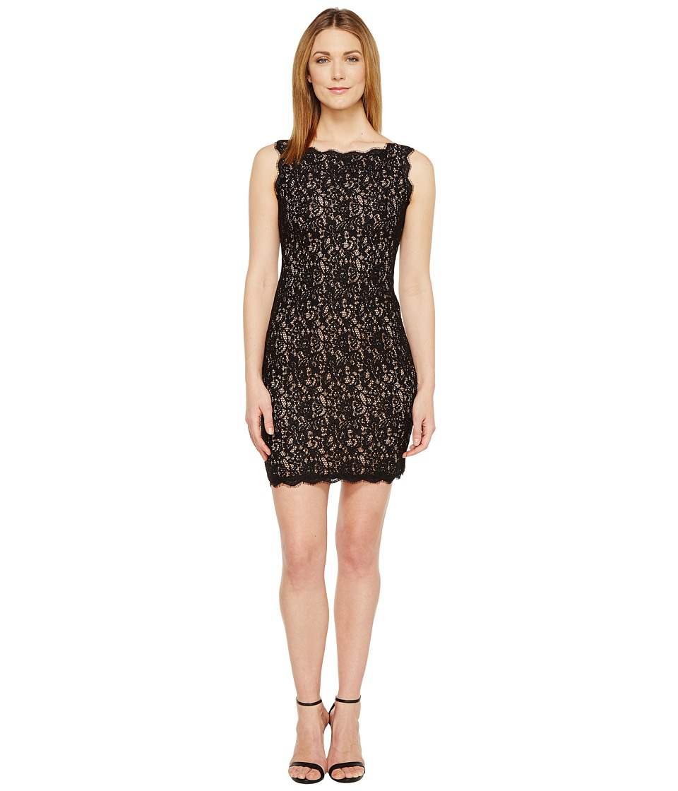 Adrianna Papell - Petite Sleeveless Lace Cocktail Dress (Black/Nude) Women's Dress