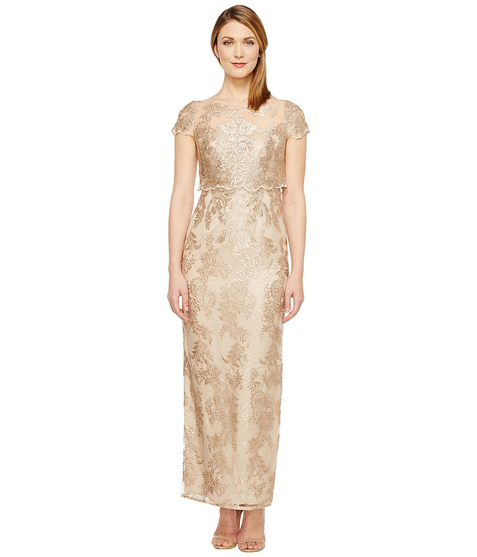 Adrianna Papell Petite Short Sleeve Fully Embroidered Gown Popover Detail Rose Gold-Nude Dress