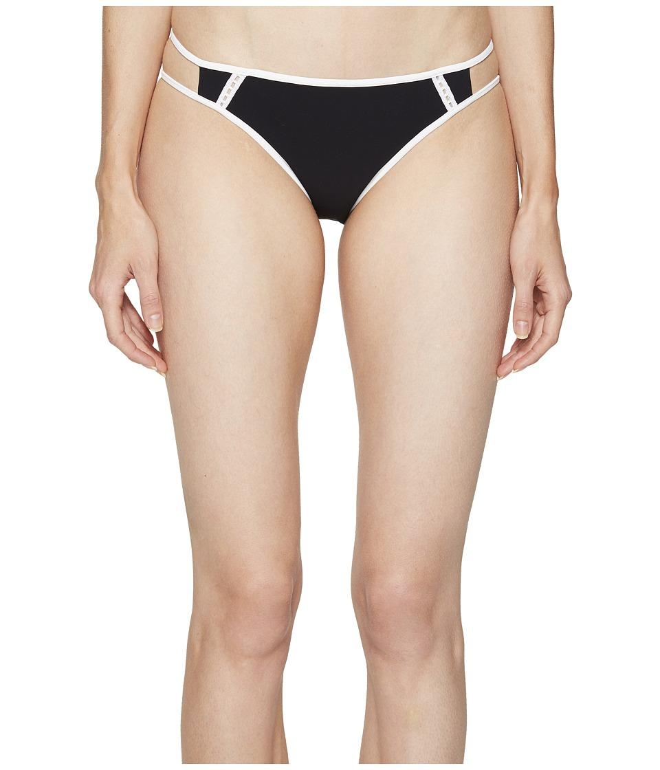 Jonathan Simkhai Reversible Double Strap Bikini Bottoms Black & Ivory Swimwear
