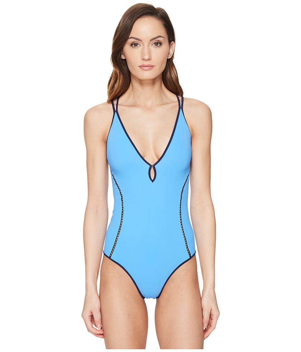 Jonathan Simkhai - Reversible Deep V One-Piece (Blue/Grey) Women's Swimsuits One Piece