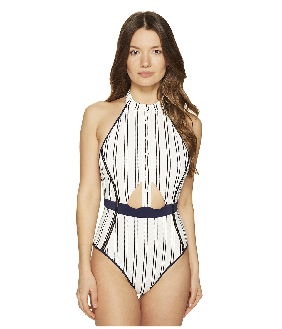 Jonathan Simkhai - Halter Front One-Piece (Navy Pinstripe) Women's Swimsuits One Piece