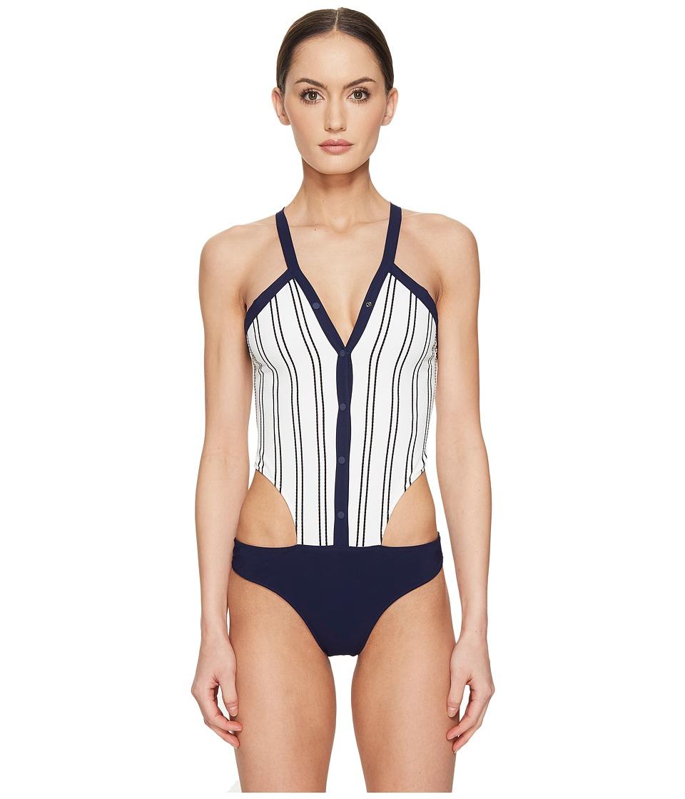 Jonathan Simkhai - Collared Oxford One-Piece (Blue Pinstripe) Women's Swimsuits One Piece