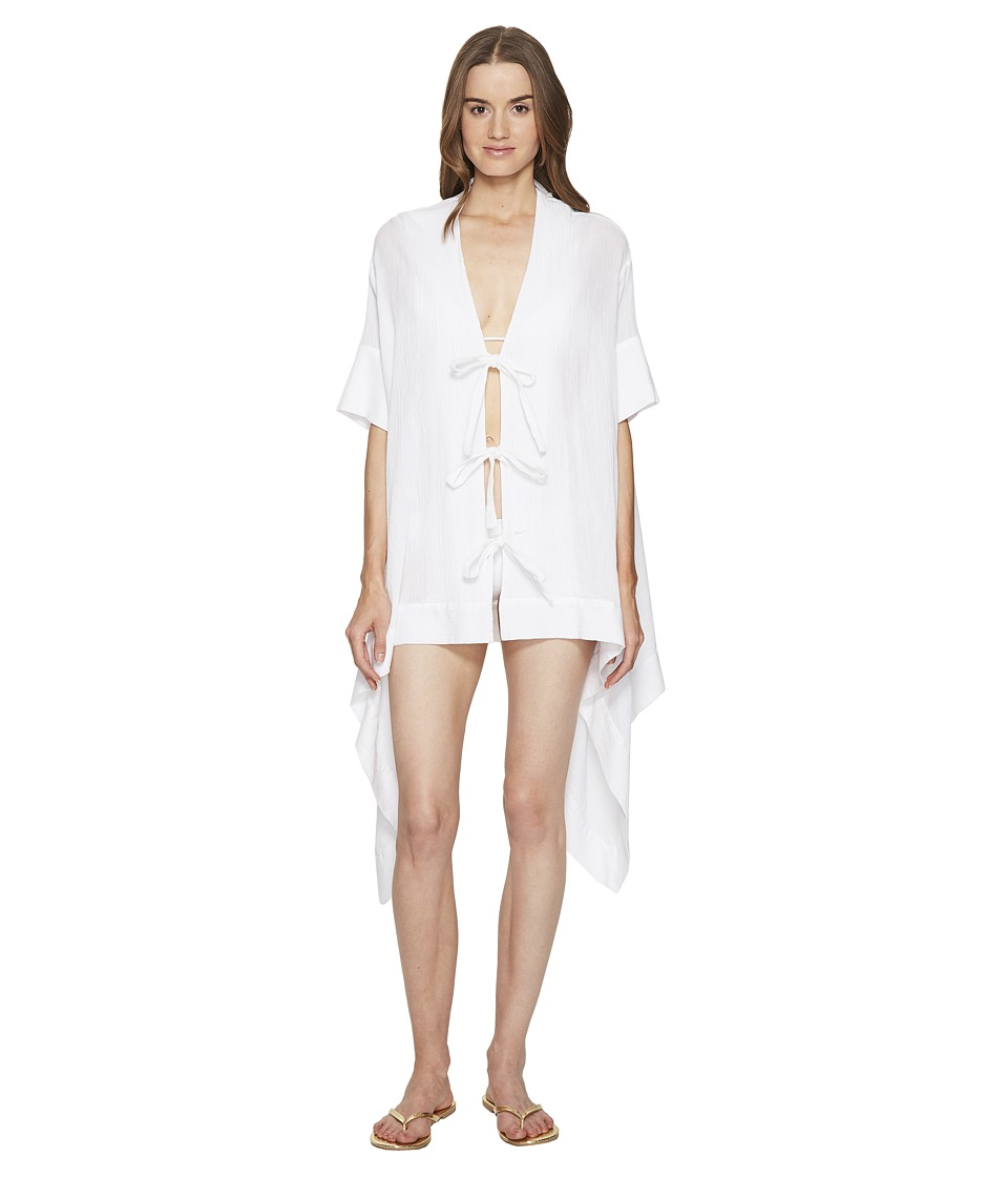 Jonathan Simkhai - Mesh Tie-Front Caftan Cover-Up (Ivory) Women's Swimwear