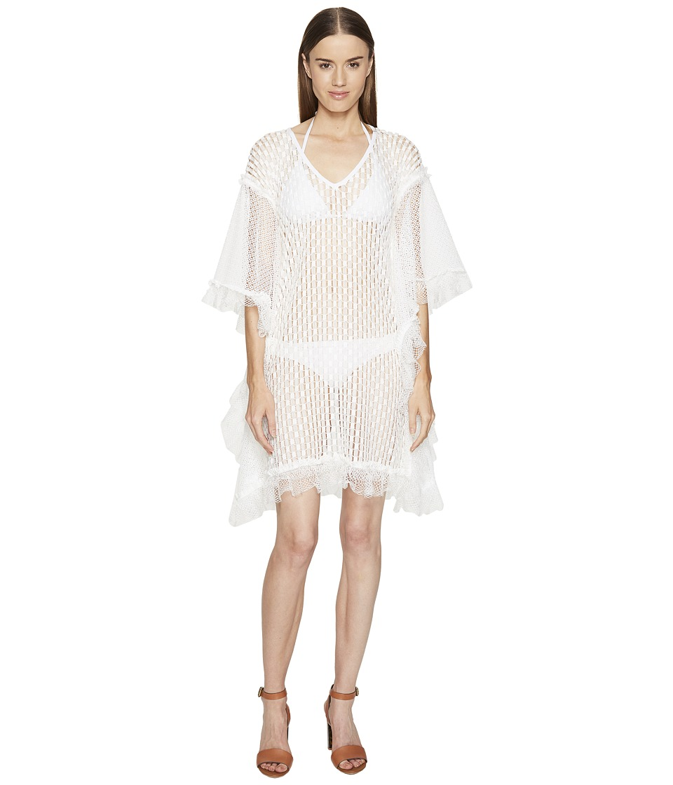 Jonathan Simkhai - Basketweave Mini Caftan Cover-Up (White) Women's Swimwear