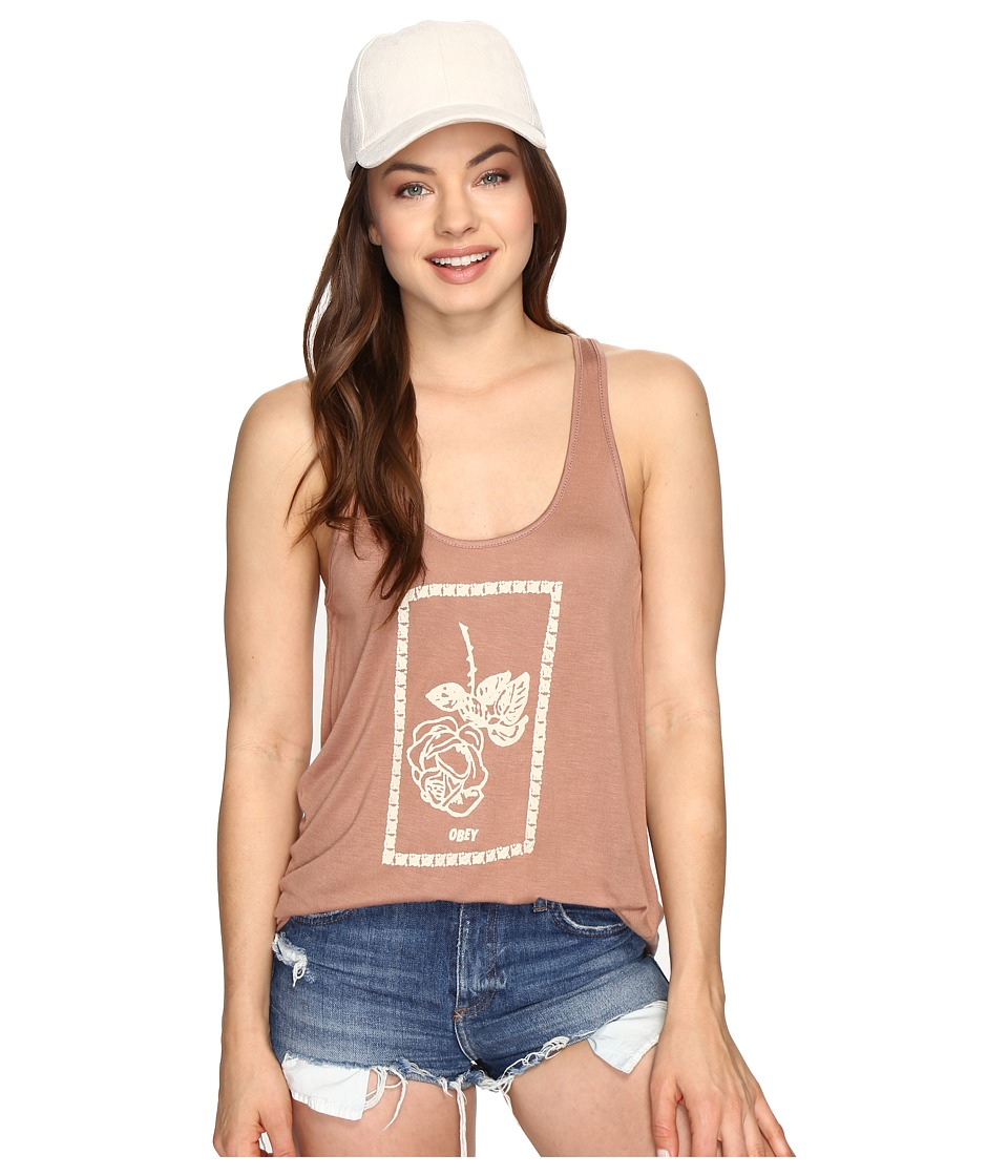 Obey - Nobody's Flower Tank Top (Coco) Women's Sleeveless