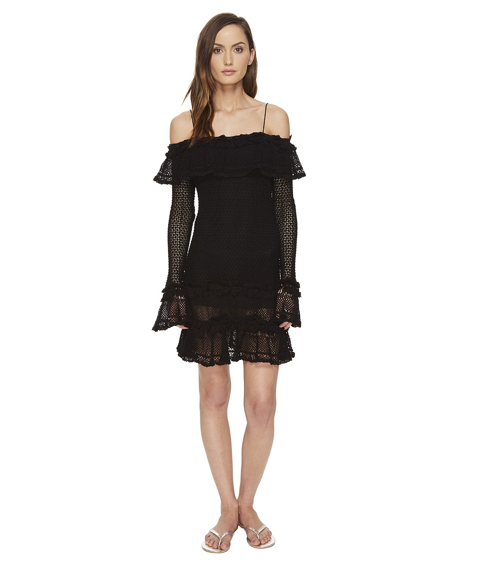 Jonathan Simkhai Ruffle Crochet Dress Cover-Up (Black) Women