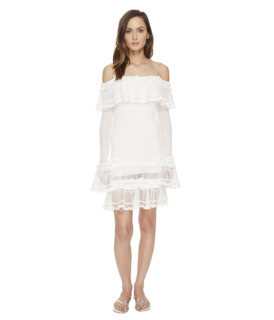 Jonathan Simkhai - Ruffle Crochet Dress Cover-Up (White) Women's Swimwear