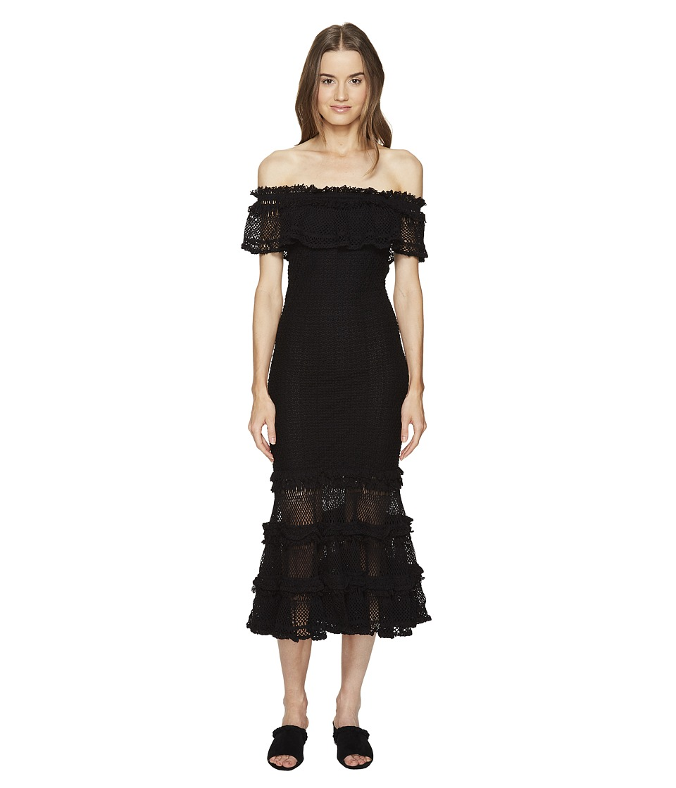 Jonathan Simkhai Ruffle Crochet Off the Shoulder Solid Gown Cover-Up (Black) Women