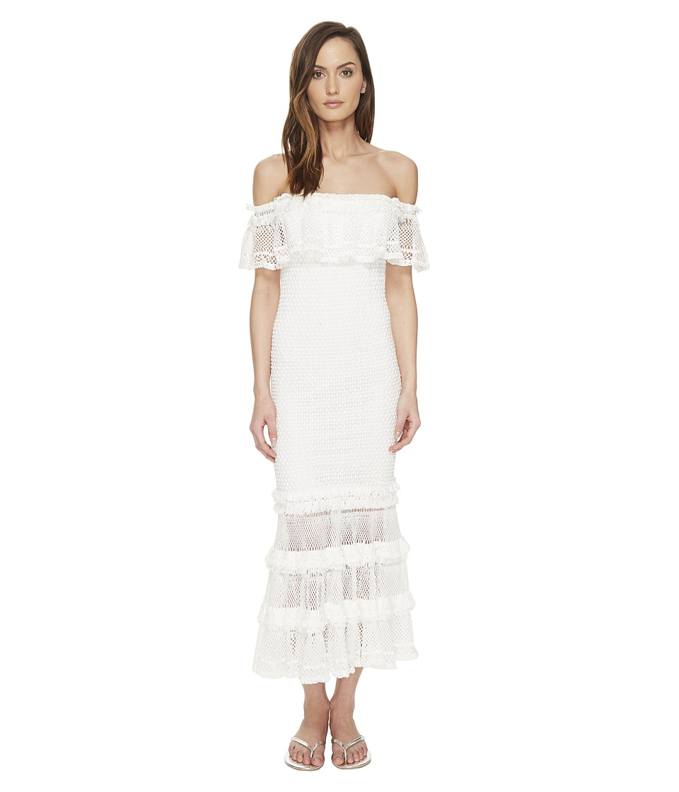 Jonathan Simkhai - Ruffle Crochet Off the Shoulder Solid Gown Cover-Up (White) Women's Swimwear