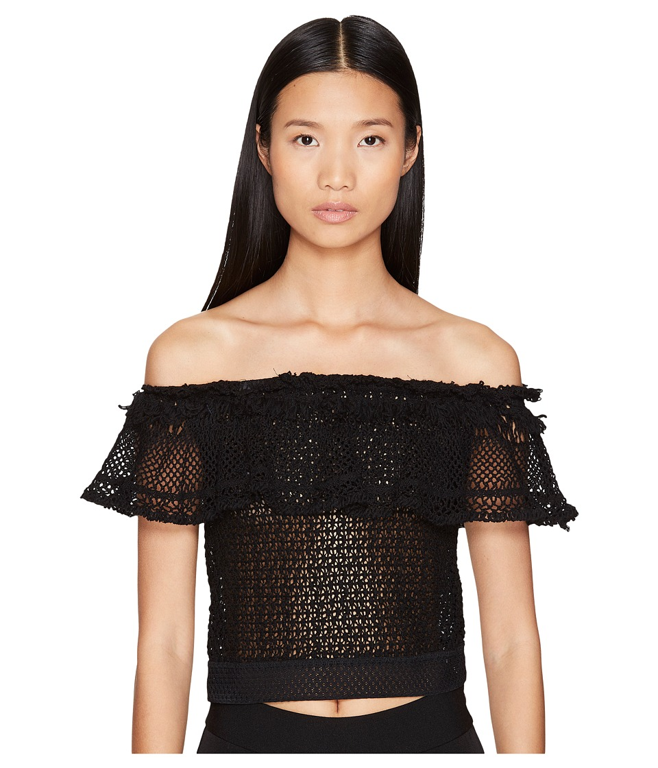 Jonathan Simkhai - Ruffle Crochet Off the Shoulder Crop Top (Black) Women's Swimwear