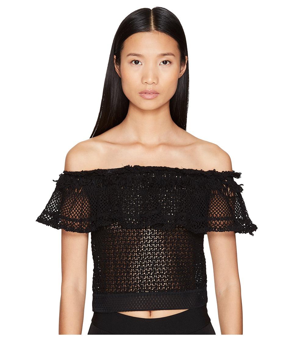 Jonathan Simkhai - Ruffle Crochet Off the Shoulder Crop Top (Black) Women's Swimwear