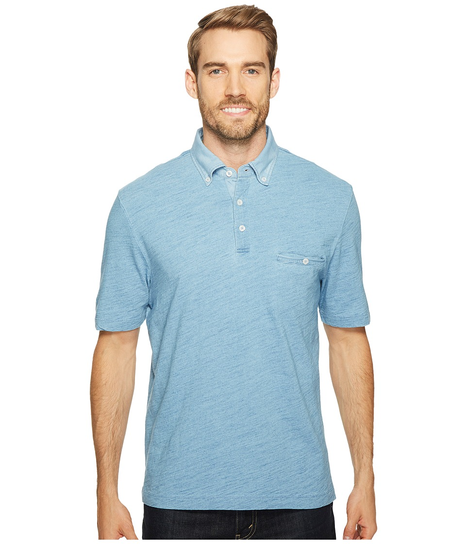 Thomas Dean & Co. - Cotton Overdye Solid Polo (Chambray) Men's Clothing