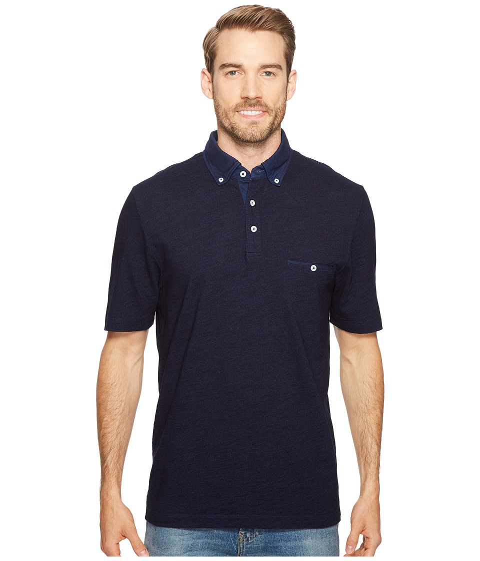 Thomas Dean & Co. - Cotton Overdye Solid Polo (Indigo) Men's Clothing