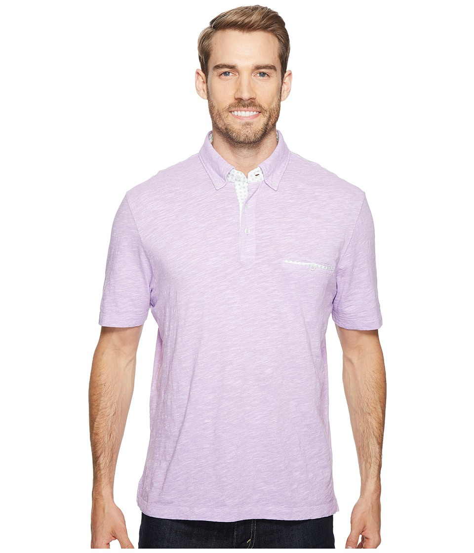 Thomas Dean & Co. - Cotton Heathered Solid Polo (Lavender) Men's Clothing
