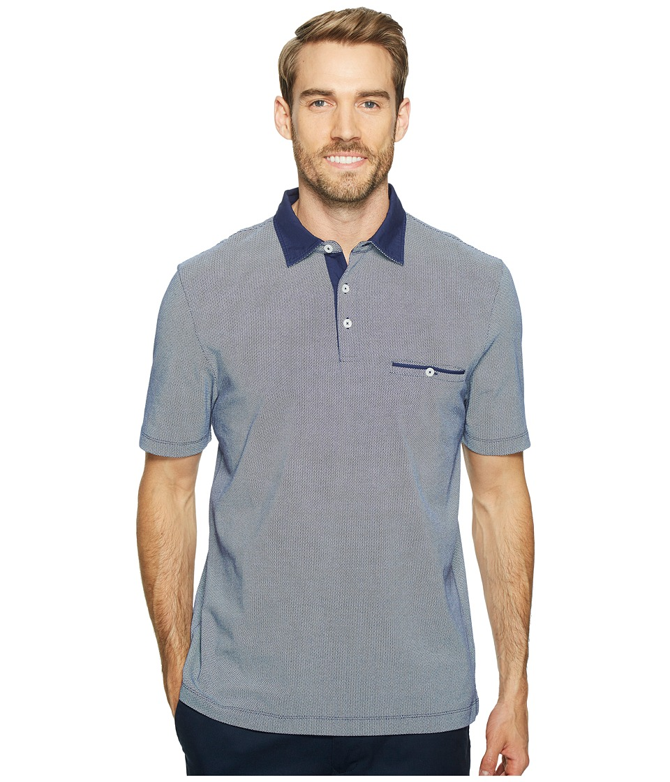 Thomas Dean & Co. - Cotton Overdye Print Polo (Navy) Men's Clothing
