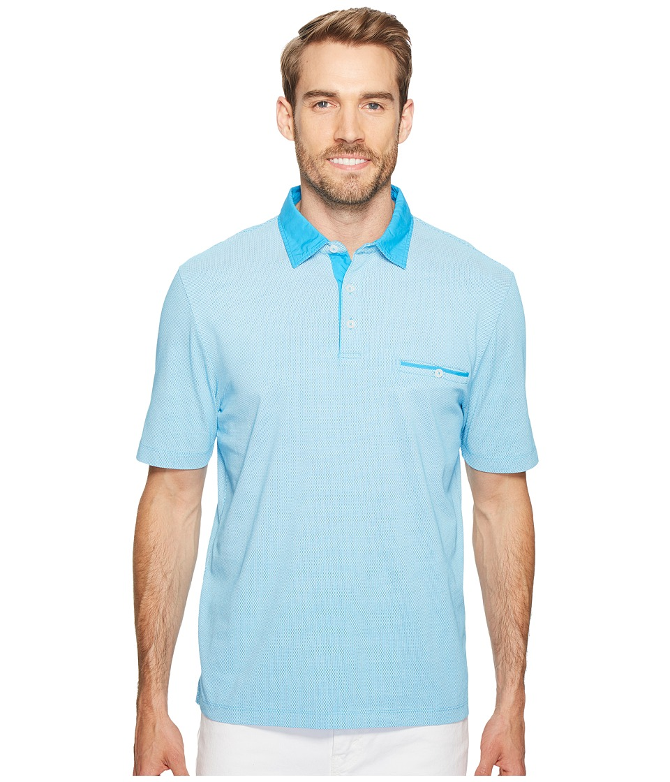 Thomas Dean & Co. - Cotton Overdye Print Polo (Dark Aqua) Men's Clothing