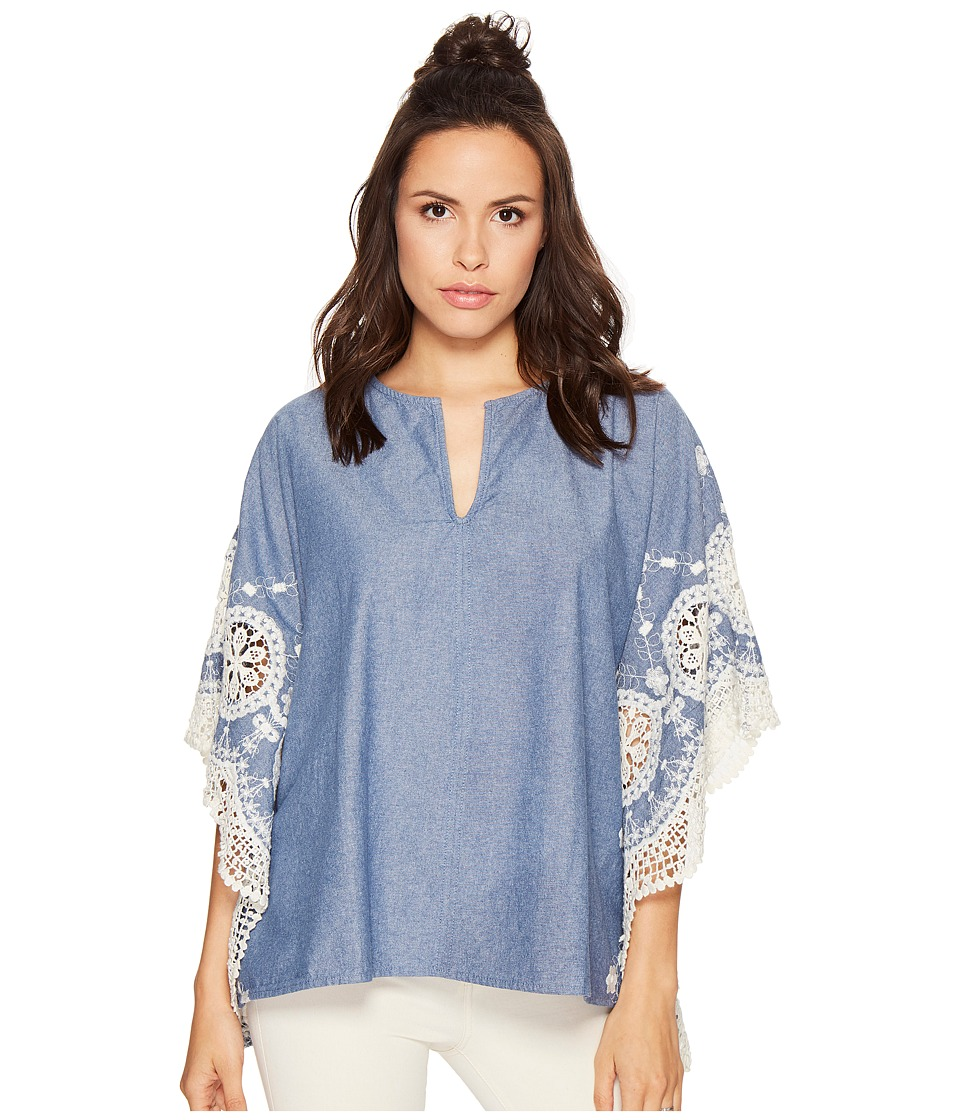 Bishop + Young - Scallop Edge Poncho (Chambray) Women's Clothing