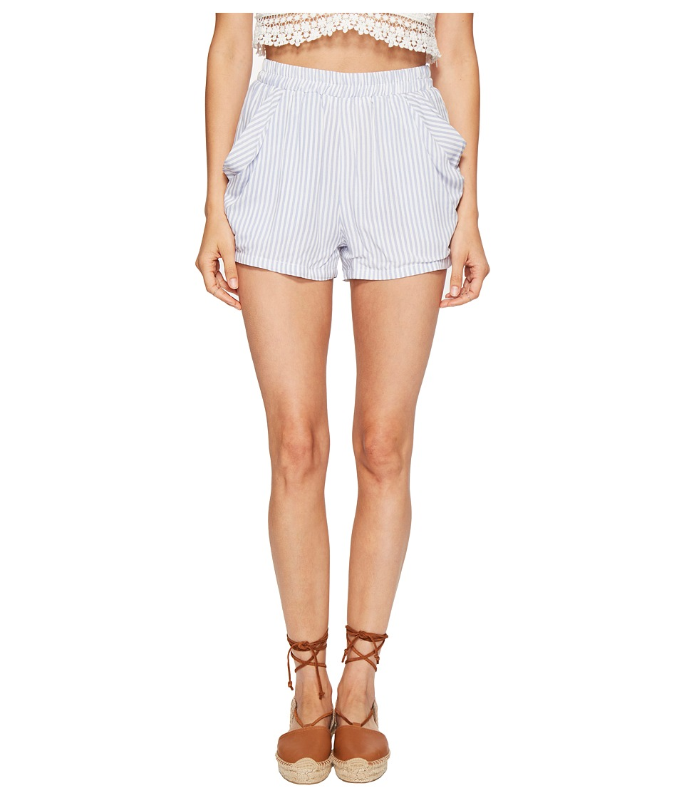 Bishop + Young - Stripe Drapey Shorts (Blue/White Stripe) Women's Shorts