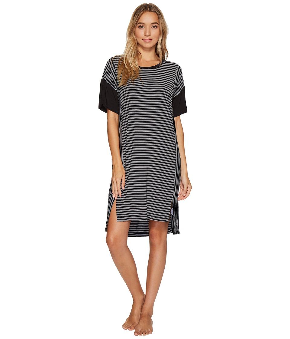 DKNY - Striped Short Sleeve Sleepshirt (Black Yarn-Dye Stripe) Women's Pajama