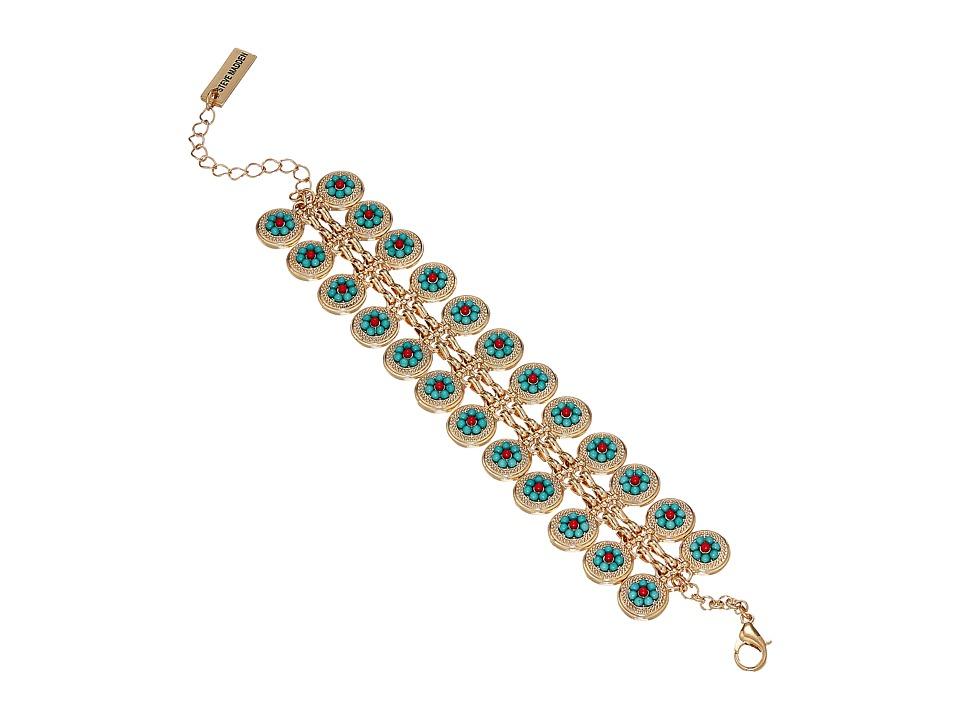 Steve Madden - Disc Floral Accent Casted Stone Bracelet (Gold) Bracelet