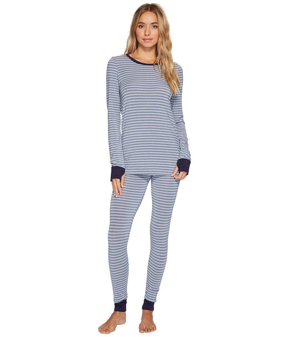 DKNY - Long Sleeve Top Leggings PJ Set (Blue Stone Yarn-Dye Stripe) Women's Pajama Sets