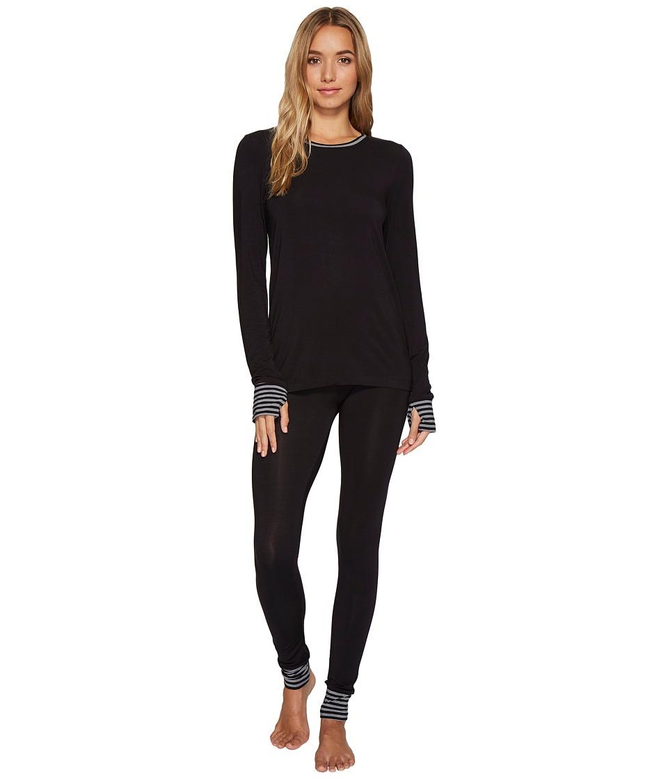 DKNY - Long Sleeve Top Leggings PJ Set (Black) Women's Pajama Sets