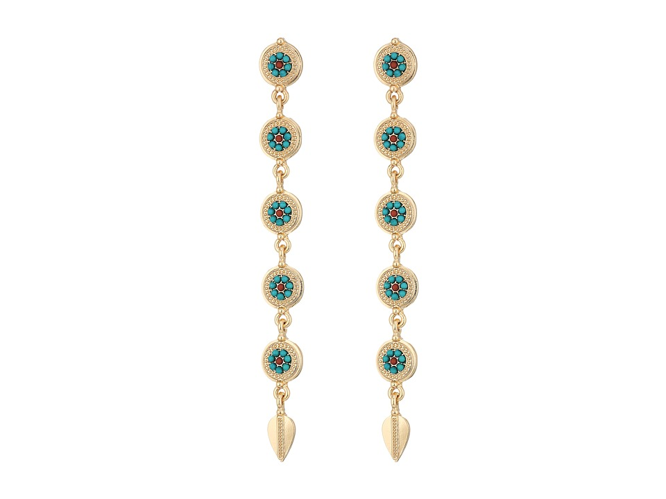 Steve Madden - Blue Bead Disc Link Leaf Dangle Post Earrings (Gold) Earring