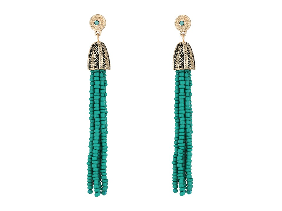Steve Madden - Tribal Textured Green Beaded Tassel Earrings (Gold) Earring