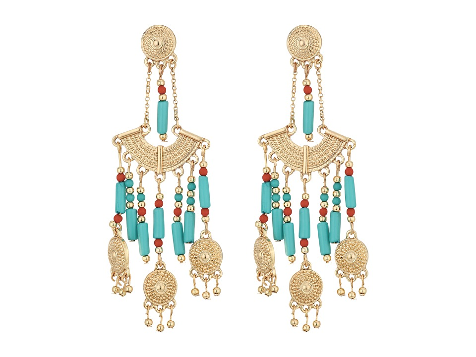 Steve Madden - Green Dangling Beaded Chandelier Post Earrings (Gold) Earring