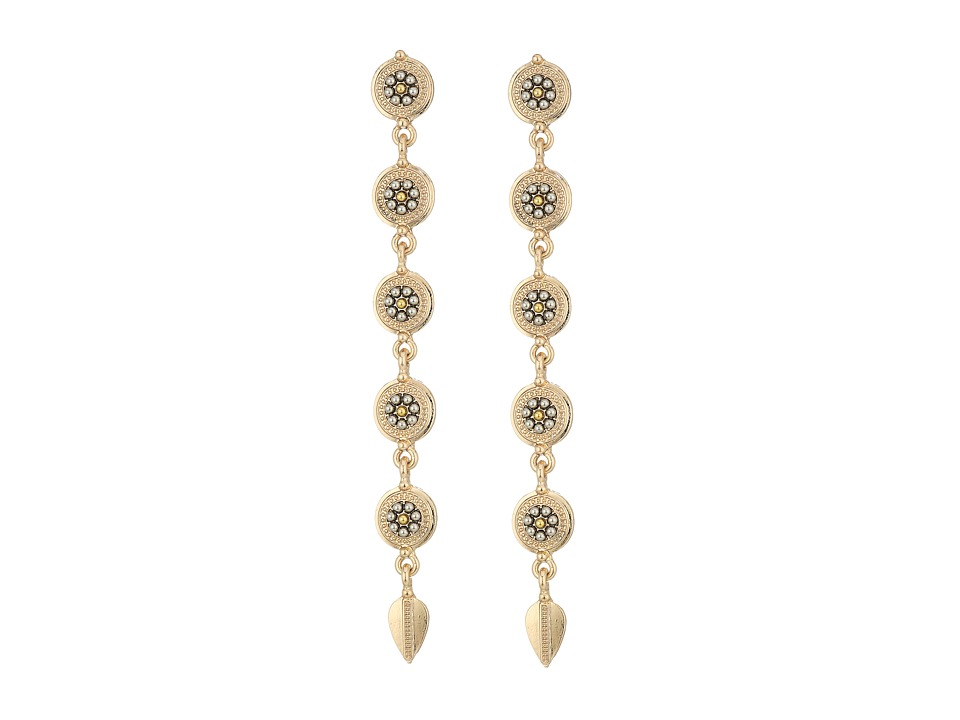 Steve Madden - Silver Bead Disc Link Leaf Dangle Post Earrings (Gold) Earring