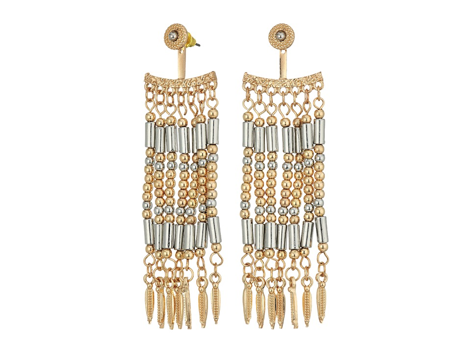 Steve Madden - Silver Dangling Beaded Front To Back Earrings (Gold) Earring