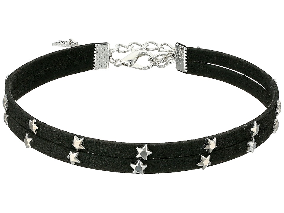 Steve Madden - 2 Row Black Suede with Stars Choker Necklace (Silver) Necklace