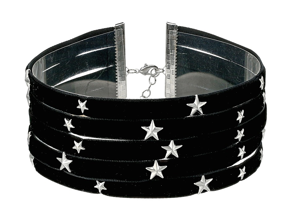 Steve Madden - 5 Row Velvet with Star Charms Choker Necklace (Silver) Necklace
