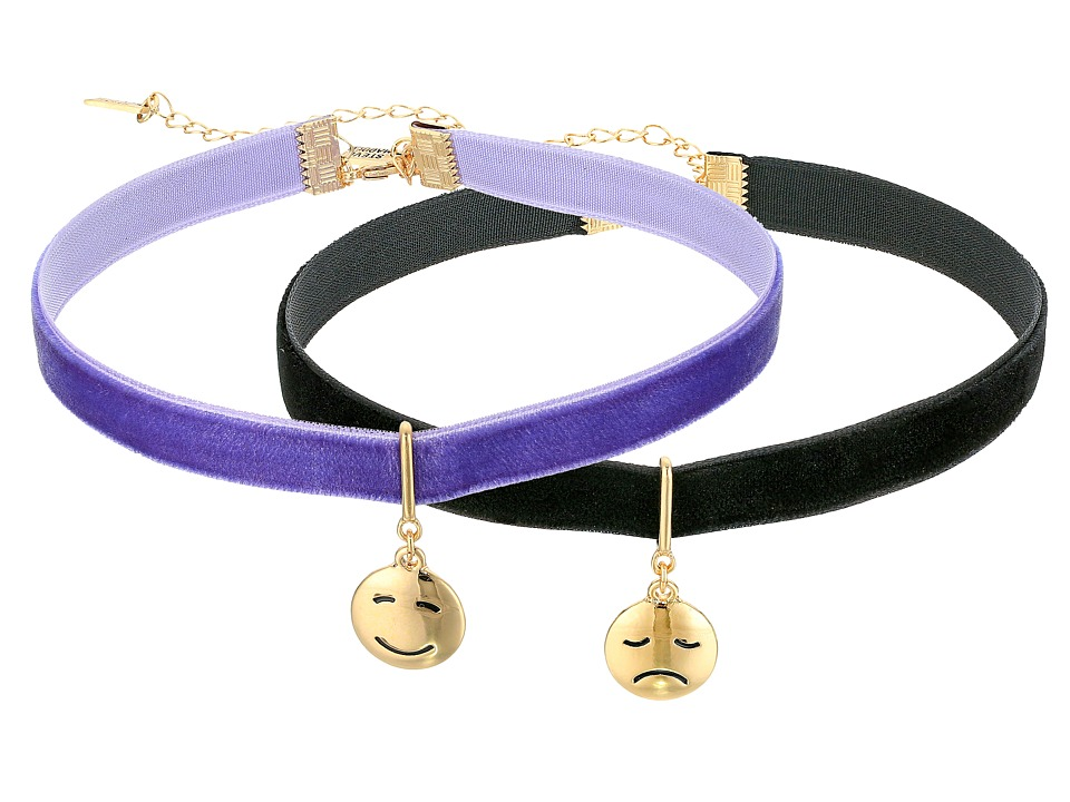 Steve Madden - 2 Piece Emoji Choker Necklace Set (Smiley/Sad Face) Necklace