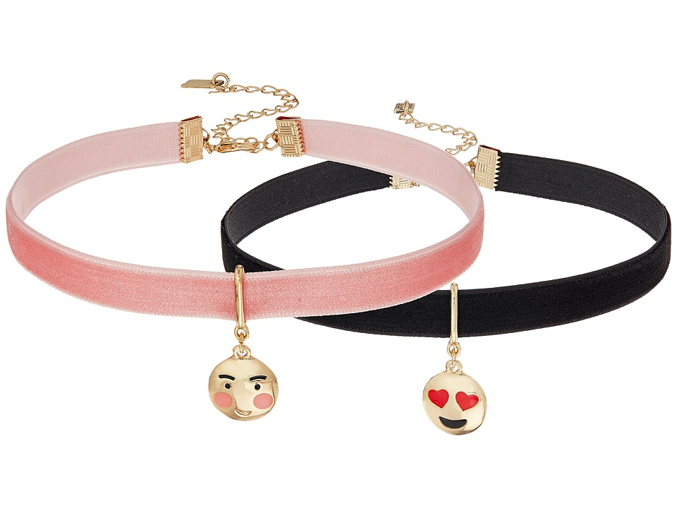Steve Madden - 2 Piece Emoji Choker Necklace Set (Heart/Blushing Face) Necklace