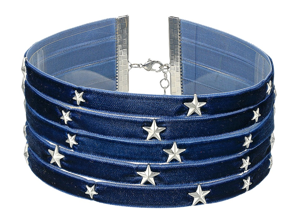 Steve Madden - 5 Row Velvet with Star Charms Choker Necklace (Silver II) Necklace