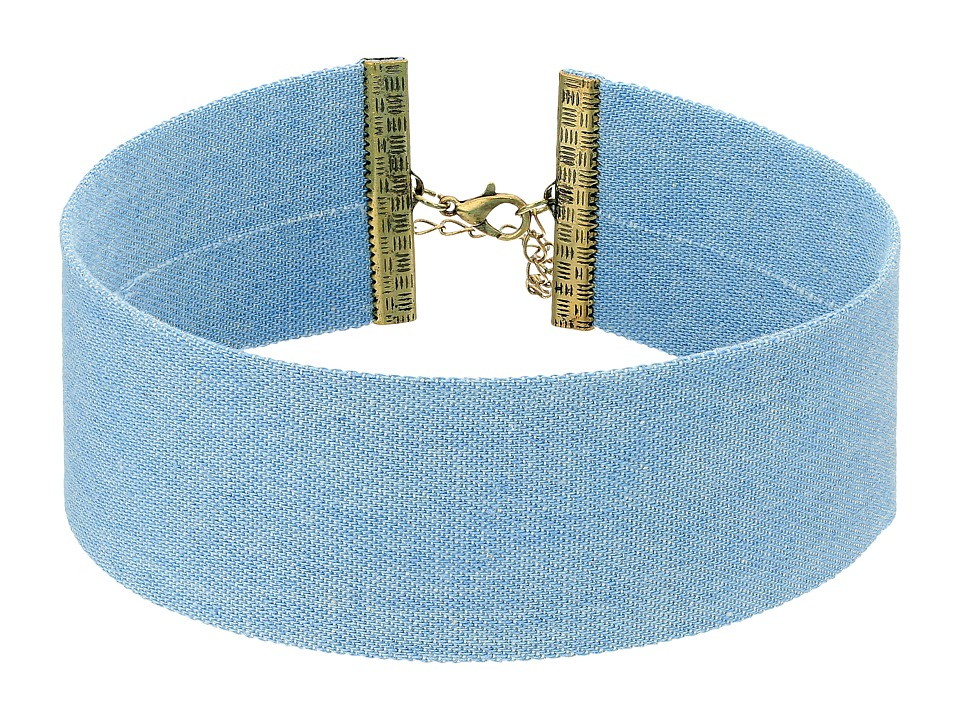 Steve Madden - Blue Thick Denim Choker Necklace (Gold) Necklace