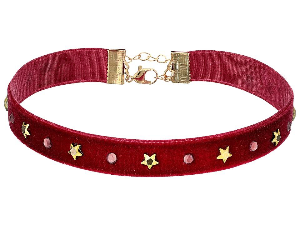 Steve Madden - Velvet with Stars Choker Necklace (Purple) Necklace