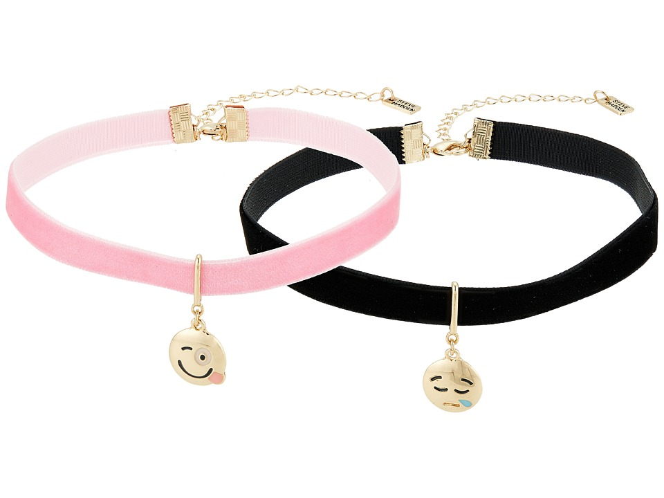 Steve Madden - 2 Piece Emoji Choker Necklace Set (Coughing/Silly Face) Necklace